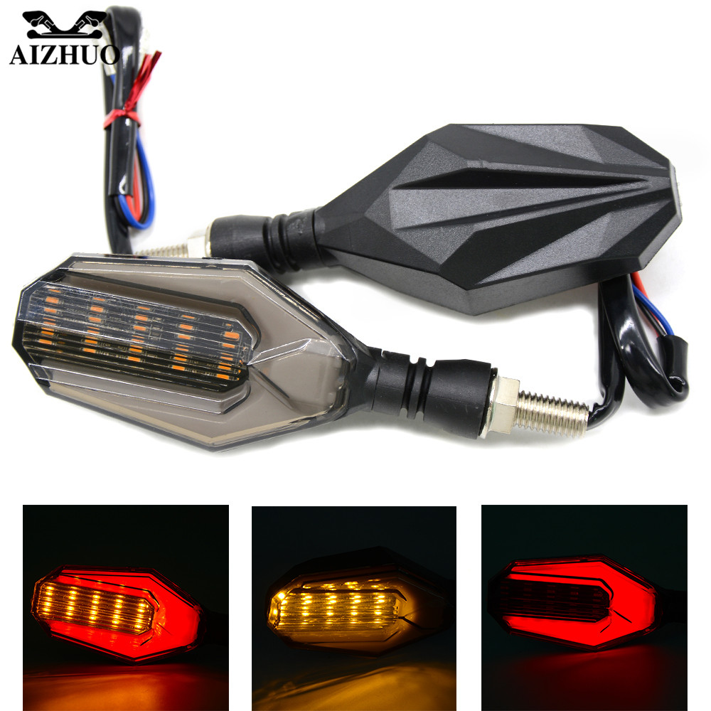 1 Pair Universal Motorcycle Turn Signal LED Indicators Amber Light For HONDA VFR 750 800 VTR1000F CBF1000 VF750S SABRE NC700