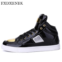 FXDXENEK 2017 New Winter Men Casual Shoes High Top Pu Leather Shoes Metal Blocks Flat Shoes