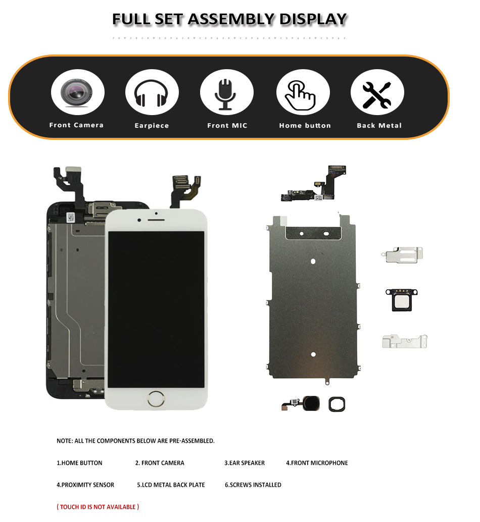 Image 2 - Full Set LCD for iPhone 6G 6 Plus LCD with Home Button Front Camera Complete Assembly Display Touch Screen Digitizer Replacement-in Mobile Phone LCD Screens from Cellphones & Telecommunications