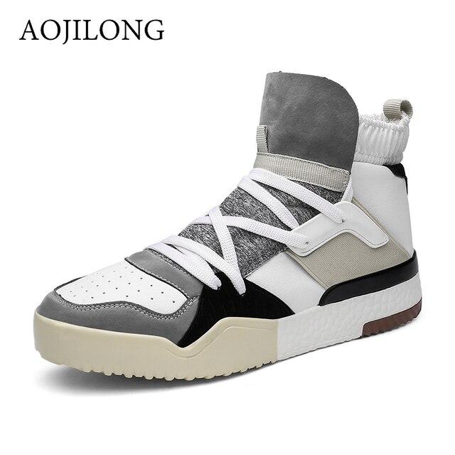AOJILONG New Winter Men s Boots Sneakers Outdoor Men Athletic Sport Shoes  Comfortable Running Shoes basket femme ce864d6144f