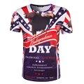 Новых Людей Прибытия Печати 3D День Независимости США Футболка С Коротким Рукавом Шею Топы Мужской Повседневная Флаг США Футболка