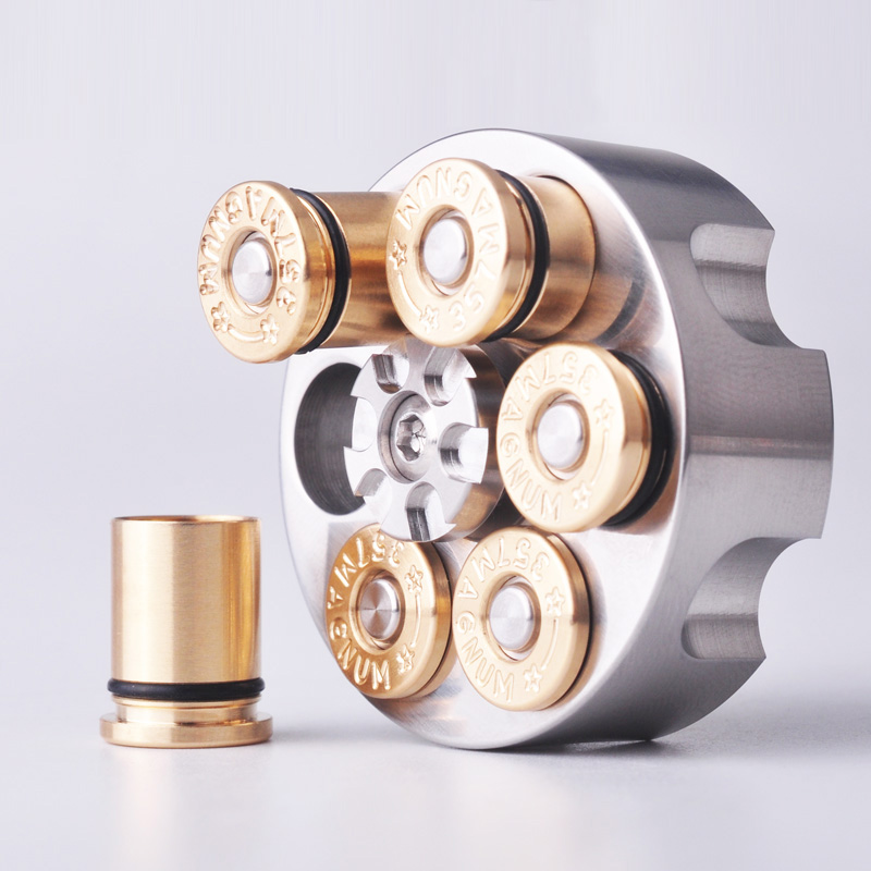 1PC Stainless Steel Revolver Shape Left Wheel Fingertip Gyro Brass Bullet Shape Adult Man Creative Toy EDC Pocket Tool
