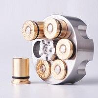1PC Stainless Steel Revolver shape Left Wheel Fingertip Gyro Brass Bullet Shape Adult Man Creative Toy EDC Pocket Tool