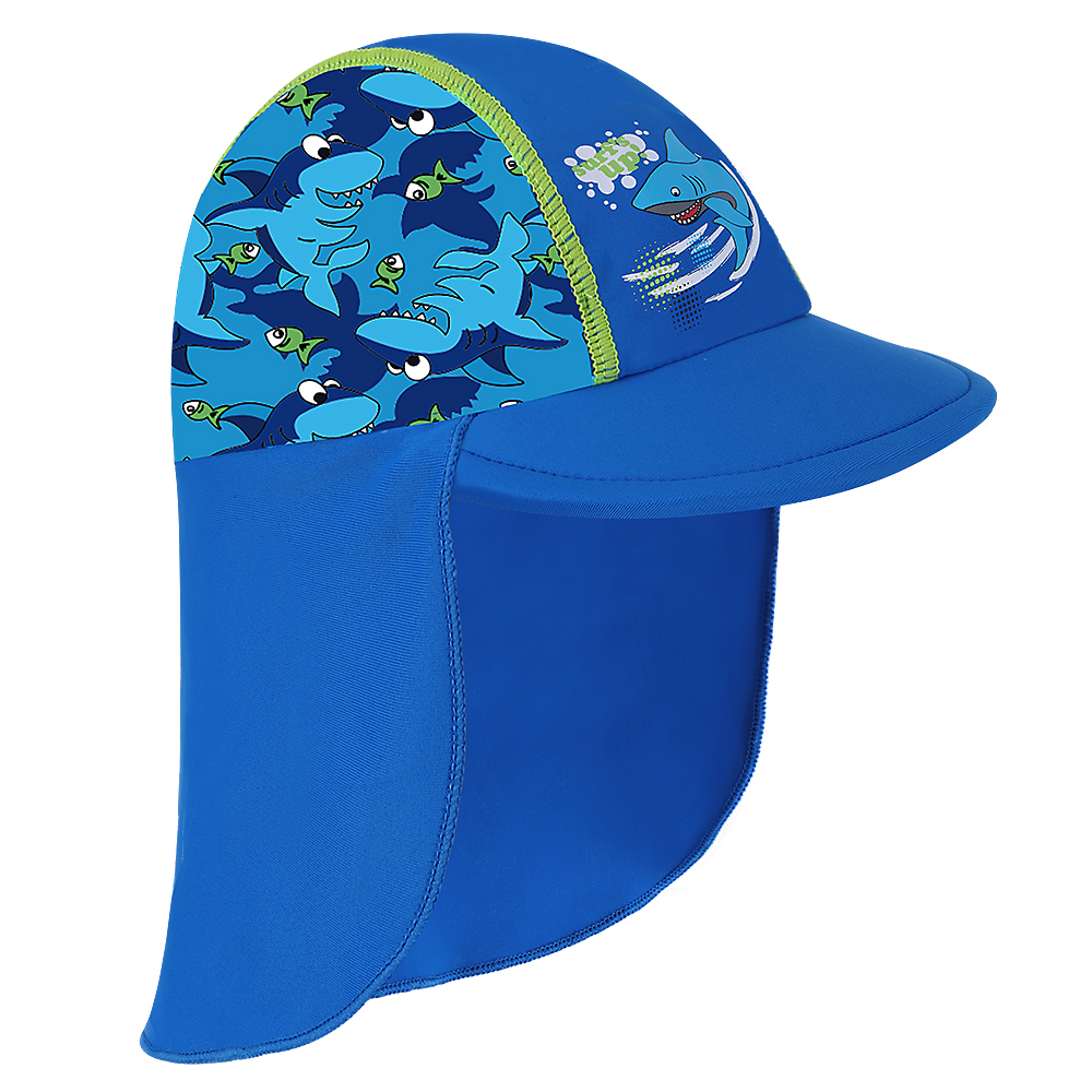 BAOHULU New Shark Pattern Sun Hats Children's Beach Caps Kids Flodable Caps With Wide Birm Anti-uv Hats Outdoor Boys Sun Hats