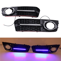 2x Chrome Glossy Black Front Lower Bumper Grill LED DRL Fog Light Lamp Grille Cover For