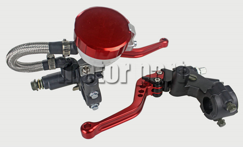 Red Universal 7/8 22mm Handlebar Adjustable CNC Brake Clutch Levers Master Cylinder Kit With Fluid Oil Reservoir Set For Suzuki 38mm cylinder barrel piston kit