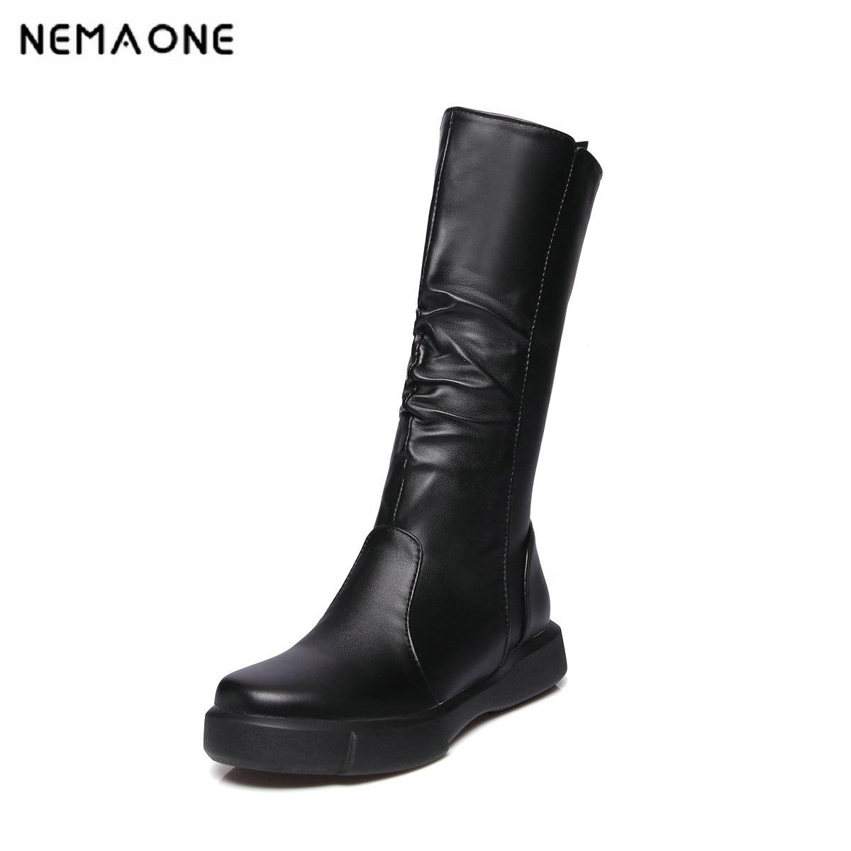 Y Cm Mediados Grande Tamaño Pie Botas Moda blanco Redonda Del Zapatos Negro Pantorrilla Bajo Dedo 2019 34 43 Tacón De Mujeres 3 Señoras Negro Blanco Es 8w15xxUq