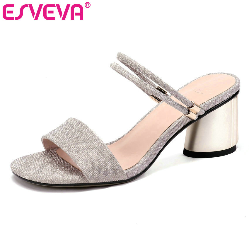 ESVEVA 2019 Women Sandals Cow Leather +PU Elegant Square High Heel Round Toe Slingback Slip on Silver Ladies Pumps Size 34-42ESVEVA 2019 Women Sandals Cow Leather +PU Elegant Square High Heel Round Toe Slingback Slip on Silver Ladies Pumps Size 34-42