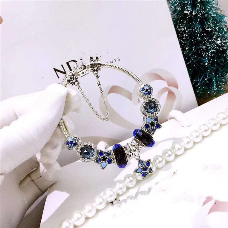 Fits  Jewelry Glamour DIY Women's Jewelry Gift Sterling Silver 925 Ocean Heart Blue Beads Stars Finished Bracelet