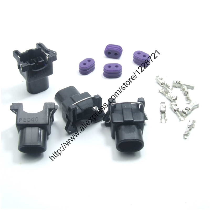 10Sets/lot 2Pin fits Delphi EV1 QUICK RELEASE Female Automotive Wire Connector for 650cc FUEL INJECTOR G.M. V.W AUDI SAAB MANY