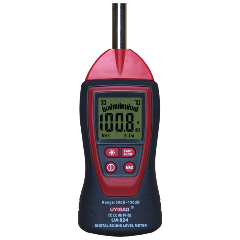 UYIGAO UA824 Digital Decibel Sound Level Meter, Noise Meter Tester with Max/Min Hold 30dBA ~ 130dBA Range 9V Battery Included tm2011 data hold peak hold min max autoranging handheld ac digital clip on table tester clamp meter