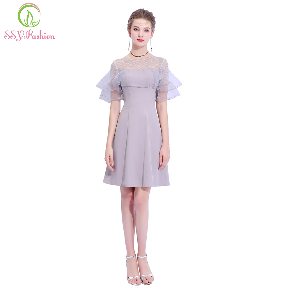 Clearance Simple Grey Cocktail Dress Banquet Elegant Short Sleeved Knee-length Party Formal Gown Robe De Soiree