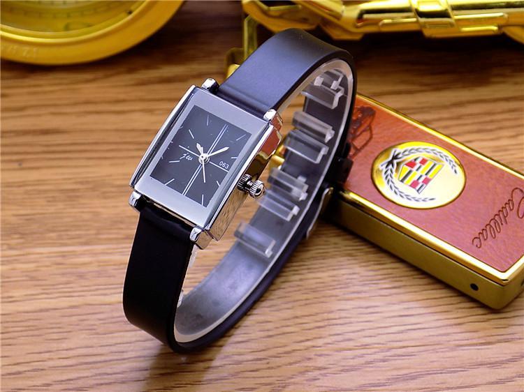 Модные Jw Брендовые повседневные Кварцевые женские и мужские часы для влюбленных с кожаным ремешком студенческие часы деловые квадратные наручные часы Relogio Masculino - Цвет: Black For Woman