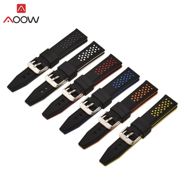 AOOW Fashion Silicone Watchband for Samsung Gear Sport S3 Classic Huami Amazfit Replace Bracelet Watch Band Strap 20 22 24 26mm