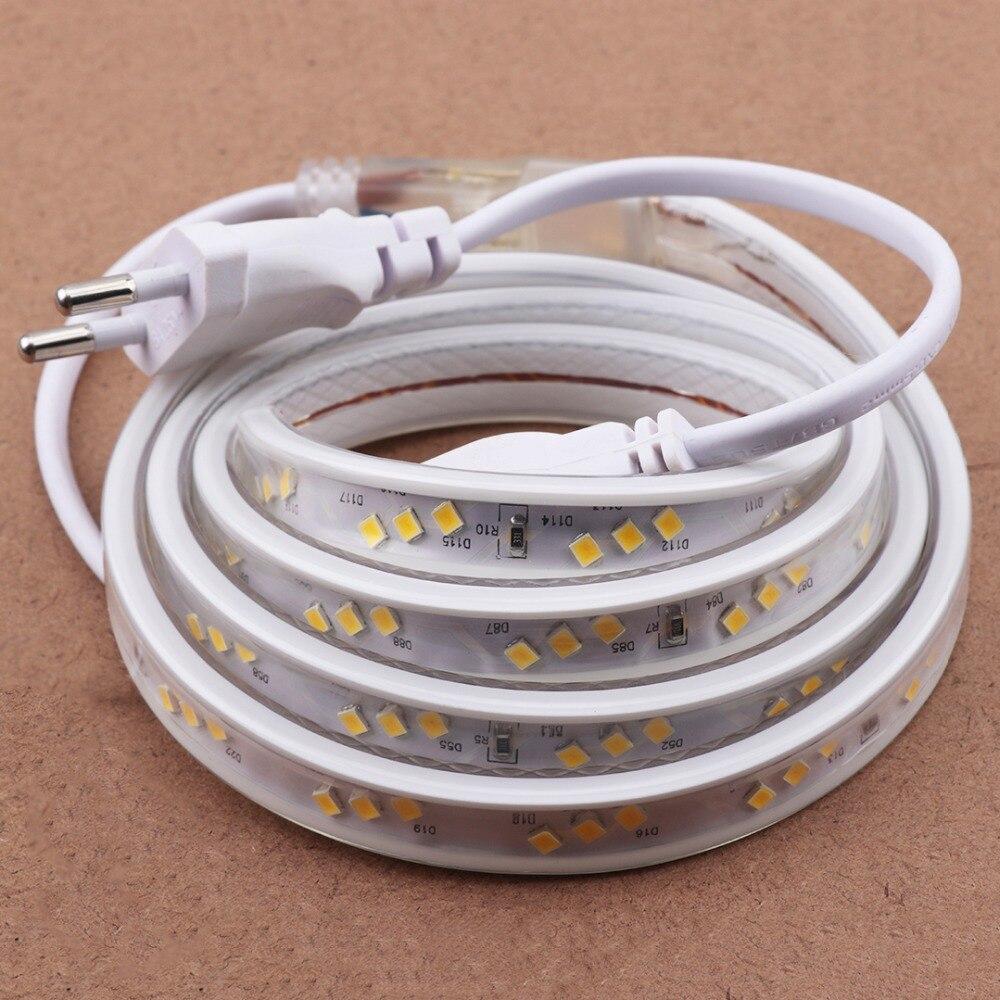 3 rangées incliné LED Bande Lumière silicone tube IP67 Étanche led bande 220 v 120 leds/m bande avec UE plug Blanc Chaud Bleu IL