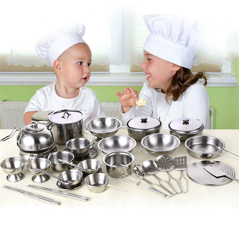 цена Kitchen Toys Educational Kids Kitchen Utensils House Cooking girls boys Kitchen goods Pots Pretend Play Style Stainless Steel