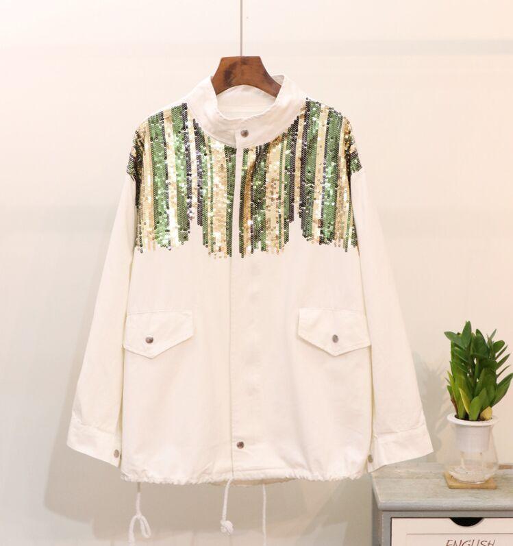 Denim Pur Cowboy blanc Nouvelles Longues 2018 Spliced Mode Montant Noir Femmes Manches Casual Col Vestes Zipper De Paillettes Automne Manteau Couleur 7qxqRnwa6