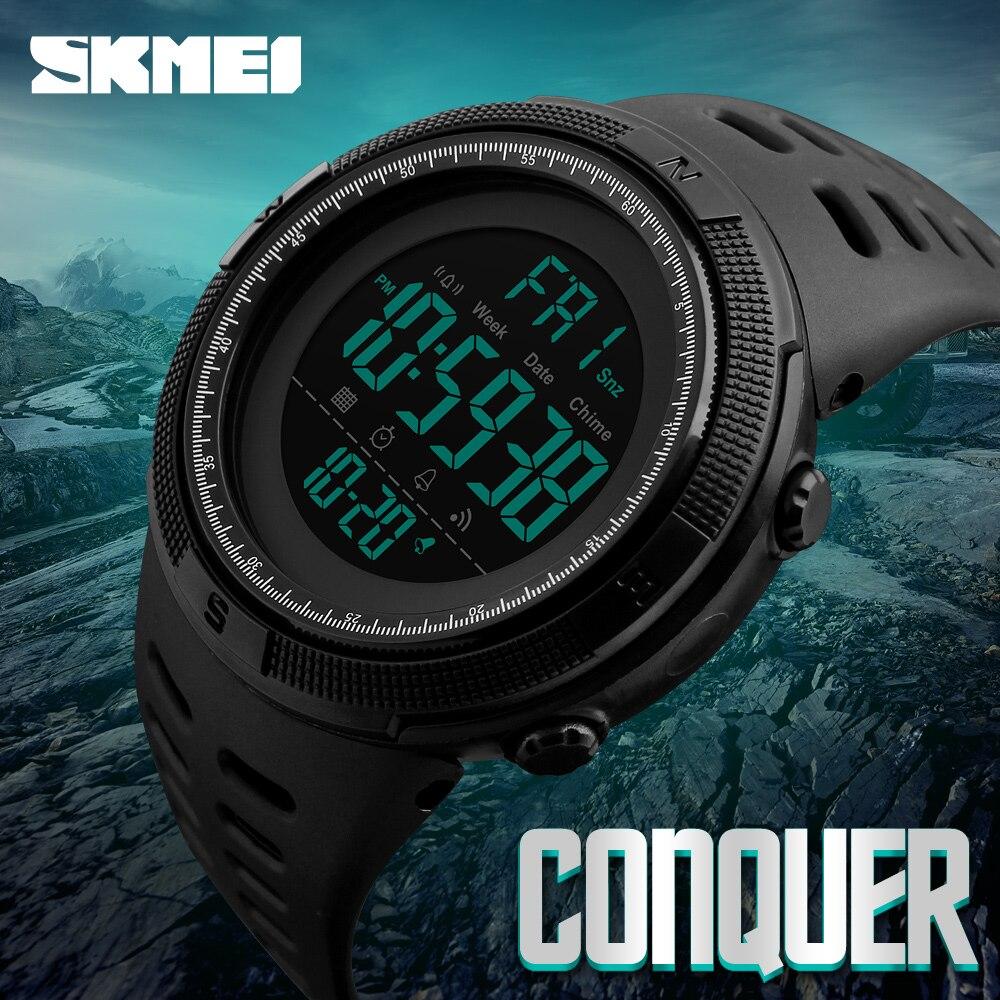 Neue Mode Luxus Sportuhr Männer SKMEI Digitale LED Wasserdicht Outdoor Kleid Uhren Chrono Countdown Dual Time Armbanduhren