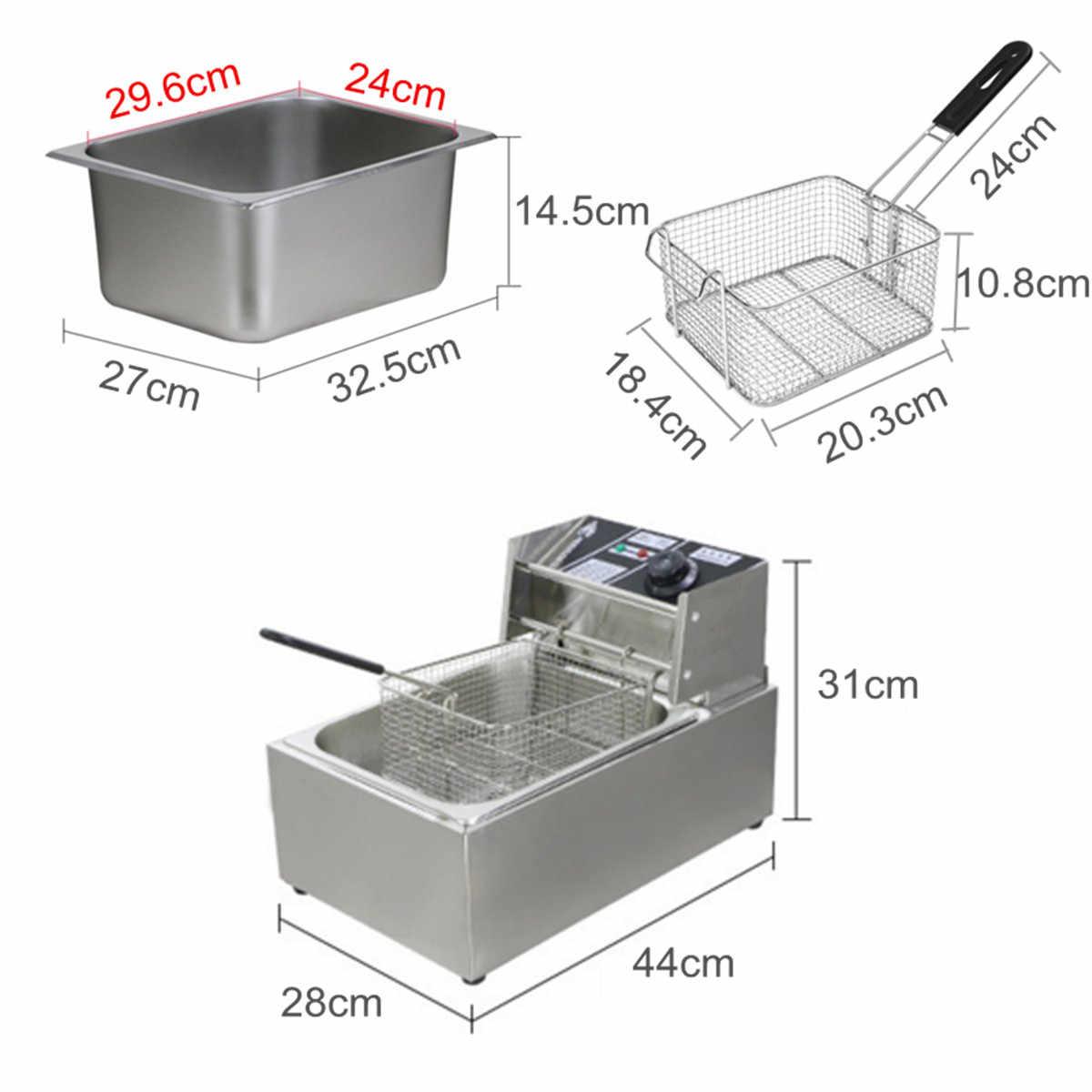 6л 2,5 кВт Сверхмощная Нержавеющая сталь электрическая глубокая Commercial Коммерческая домашняя кухонная сковорода чип Плита Корзина для крыльев Buffalo