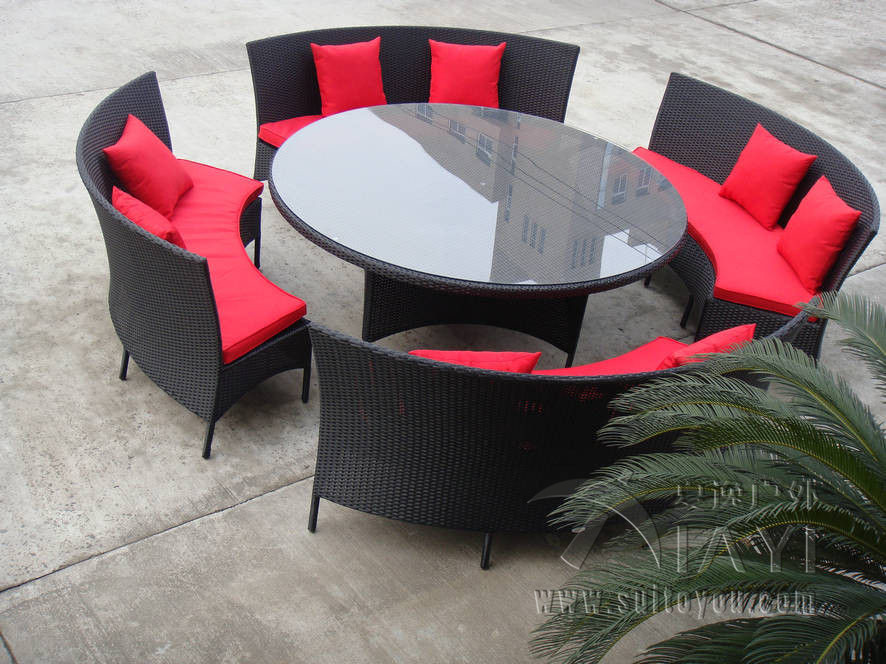 5 pcs Hand-Woven Poly Rattan Garden Dining Sets With Cushion transport by sea rattan dining room sets with cushion and tempered glass page 6