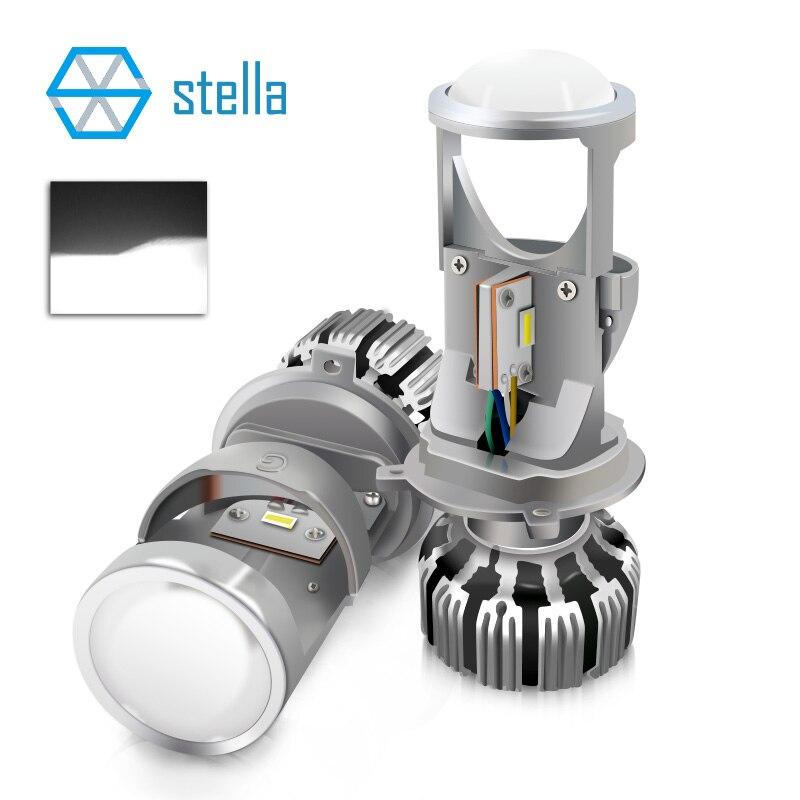 Stella H4 feux de croisement/feux de route LED projecteur de lentille pour auto/moto 12 V 72 W 8000LM 5500 K lumière LED ampoules/lampes pour voitures
