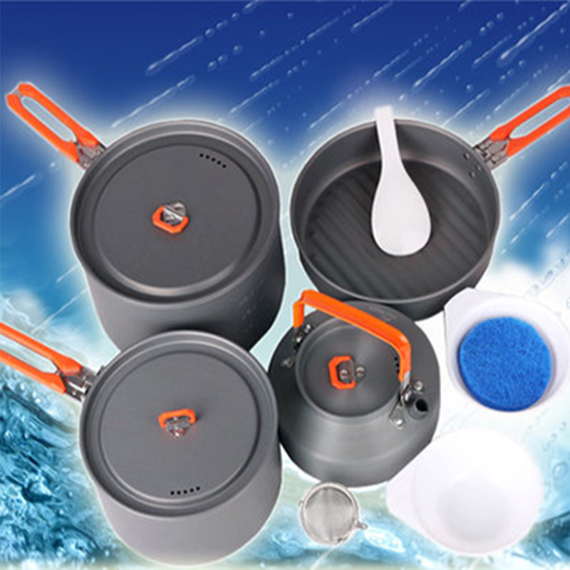 Hot Sale 4-5 Person Cookware Sets 2 Pot Teapot Frying Pan Outdoor Camping Cooking Pots Sets Hard Anodizing Aluminum Feast 4 цена в Москве и Питере