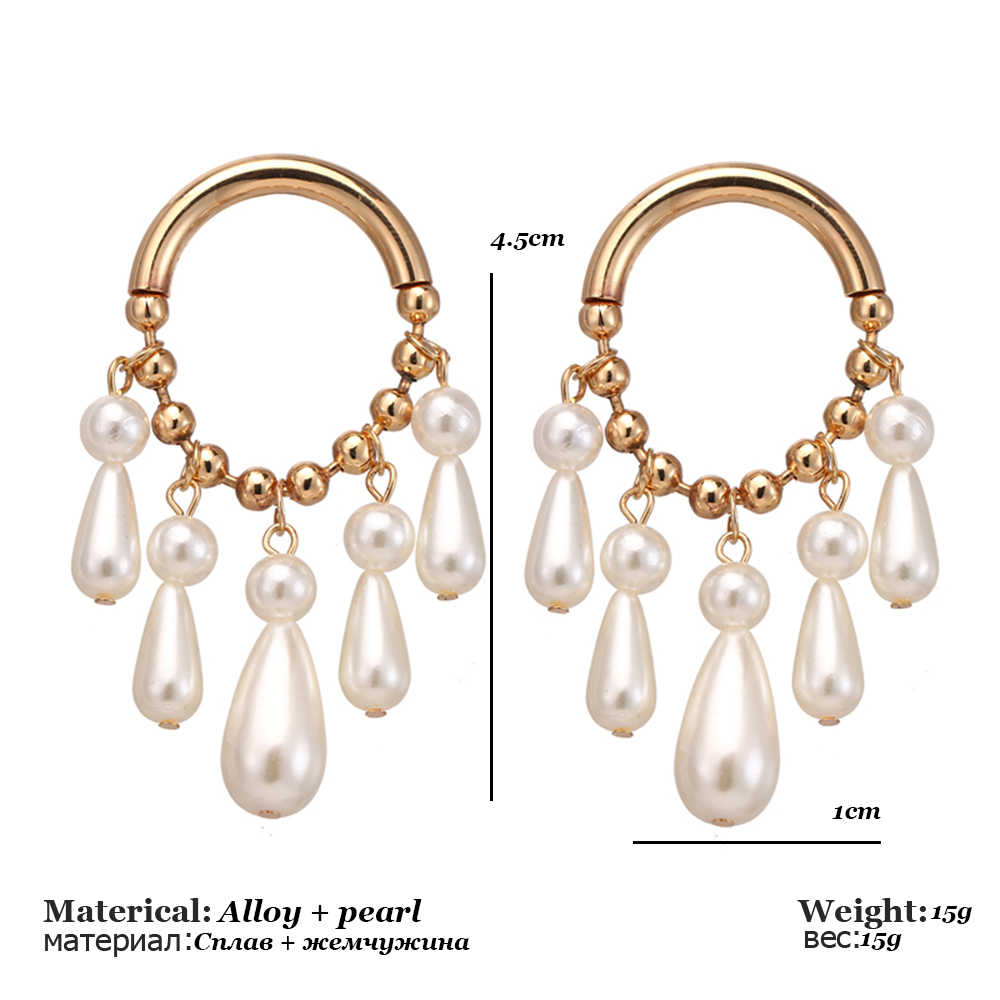 New Tassel Pearl Hoop Earrings for Women Exaggerates Oversize Pearl Circle Ear Rings Earrings Fashion Europe Nightclub Jewelry