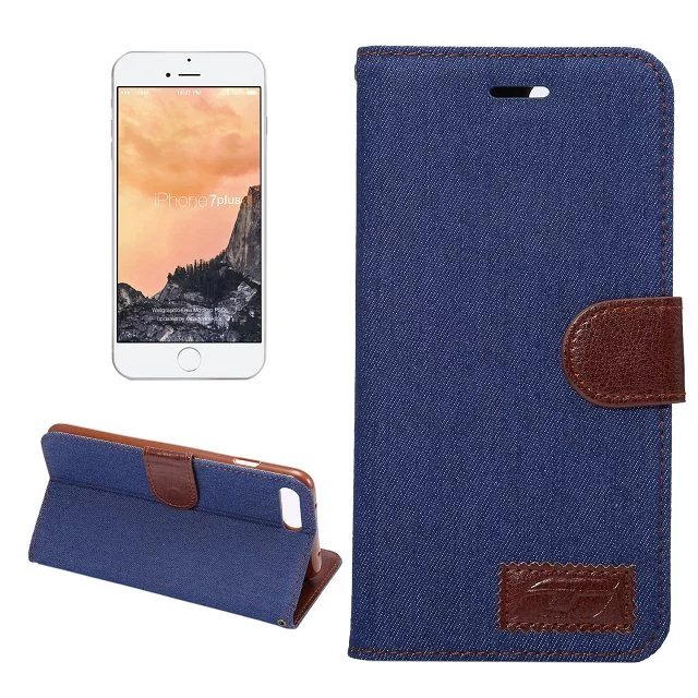 For Apple iPhone 7 Plus 5.5 Fashion Vogue Jeans Canvas Leather Credit Card Slot Wallet Flip Case For iPhone7Plus Fold Cover