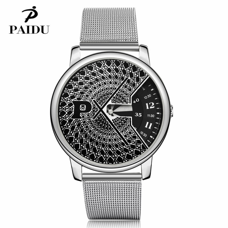 PAIDU Full Steel Watch Fashion Special Design Luxury Elegant Men Women Unisex Quartz Wristwatch Male Clock high quality relojes fashion black full steel men casual quartz watch men clock male military wristwatch gift relojes hombre crrju brand women watch