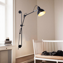 Modern black industrial bracket axle adjustable long swing arm led wall lamp light 220v for home Bathroom,Bedroom,Study,Kitchen(China)