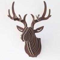 1 stks 3D Puzzel Houten DIY Model Muur Opknoping Herten Hoofd Elanden Herten Hoofd Hout Gift Ambachtelijke Woondecoratie Dier Wildlife