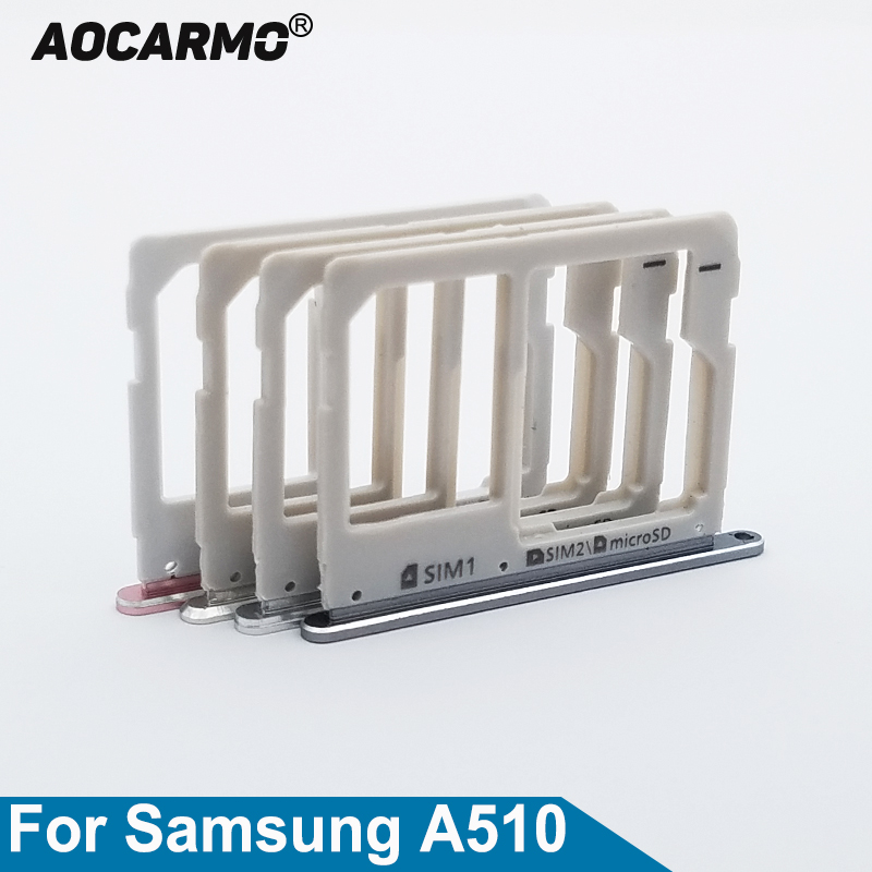 Aocarmo Metal Nano SIM Tray MicroSD SD Card Slot Holder For Samsung A5 (2016) A510 A510F Dual Gold/Silver/Grey/Pink