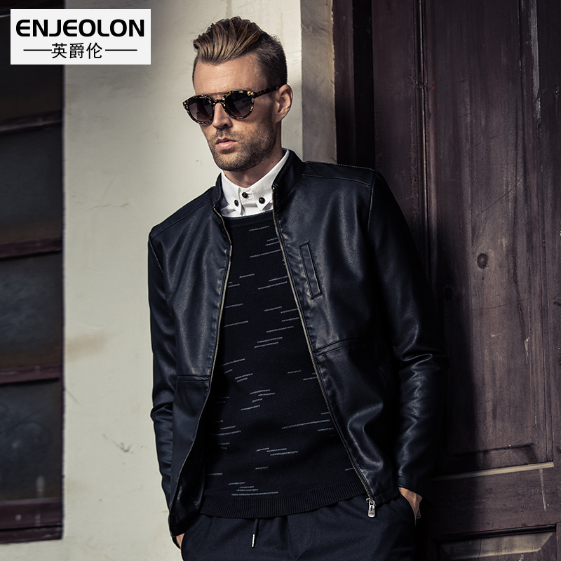 Enjeolon brand top new Motorcycle Leather PU Jackets font b Men b font fashion zipper cuff