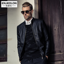 Enjeolon brand top new Motorcycle Leather PU Jackets Men,fashion zipper cuff Clothing,Stand collar Male slim Casual Coats P263