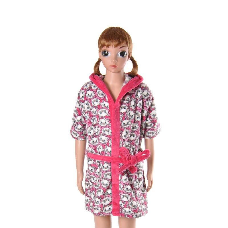 Kids Robe Soft Coral Fleece Cartoon Cat Marie Girls Bathrobe Child ...