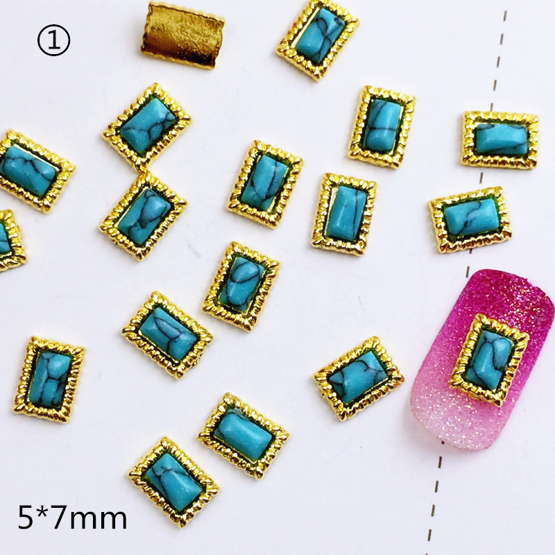 10pcsbag Japan 3D Nail Sticker Metal Alloy 5*7mm Rectangle with Colorful Stone Nail Parter DIY Charm Nail Tools for manicure