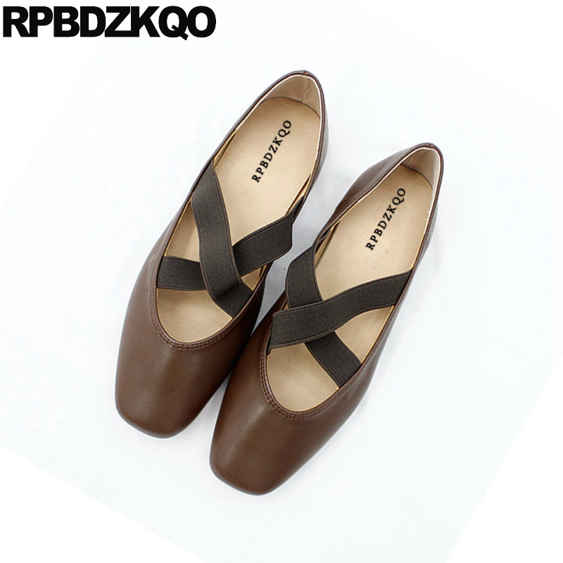 2018 Ladies Nude Soft Ballet Flats Women Square Toe Brown Female Elastic Ballerina 5 Shoes Designer Vintage China Cross Strap women ballerina pointed toe ladies designer shoes china 2018 ballet ankle strap suede pink cute elastic flats japanese cross