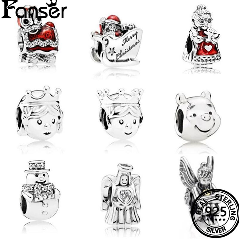 FANSER 2017 Christmass Day Collection Jewelry 925 Sterling Silver Lovely Zircon Charm Bead Fit Original Pandor Charm Bracelet