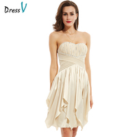 Dressv Homecoming Dress Champagne 2017 Cheap Sweetheart Lace Up Beaded A Line Cocktail Party Dress Short