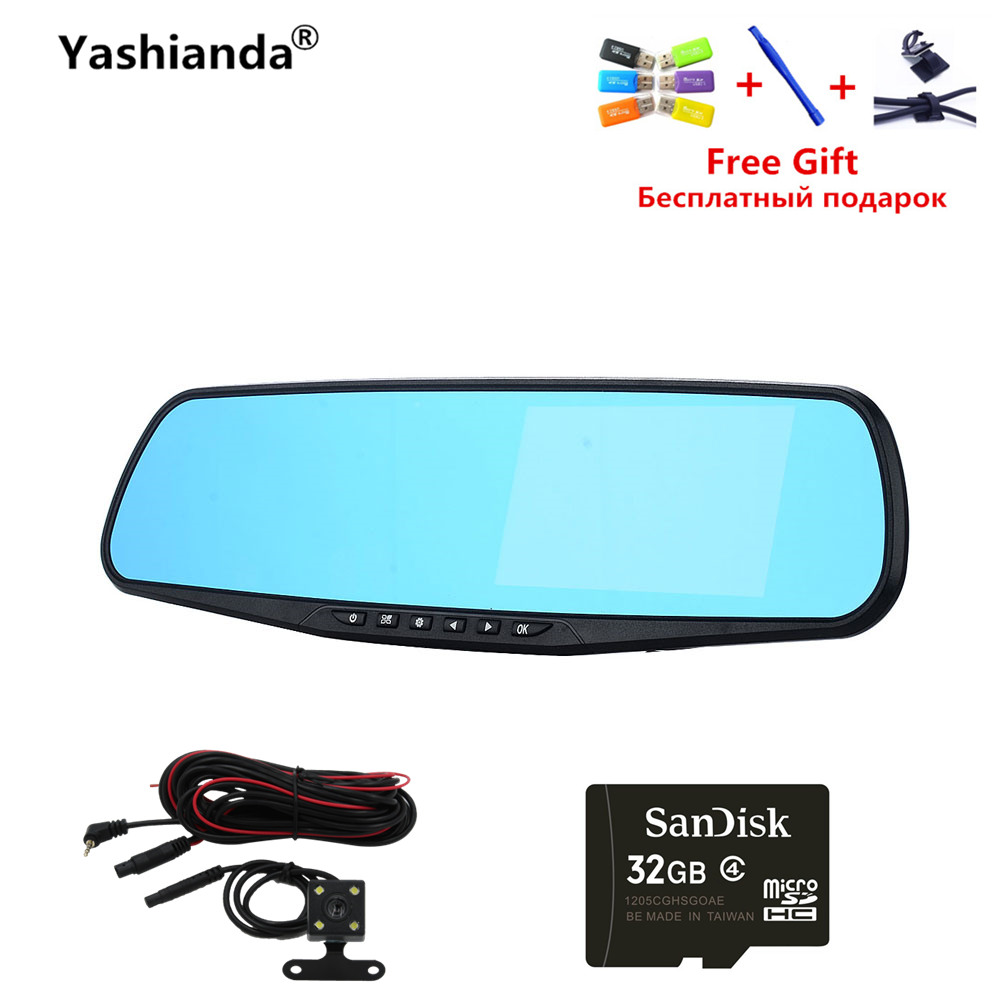 Yashianda 4 Inch Car DVR Camera HD 1080P LED Display Cycle Recording Auto Rearview Mirror Digital Video Recorder Dual Lens
