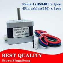 Бесплатная доставка и Качество 17HS3401 4-свинец Nema 17 Шагового Двигателя 42 двигатель 42 42BYGH 1.3A CE РОШ ISO Лазера CNC и 3d-принтер