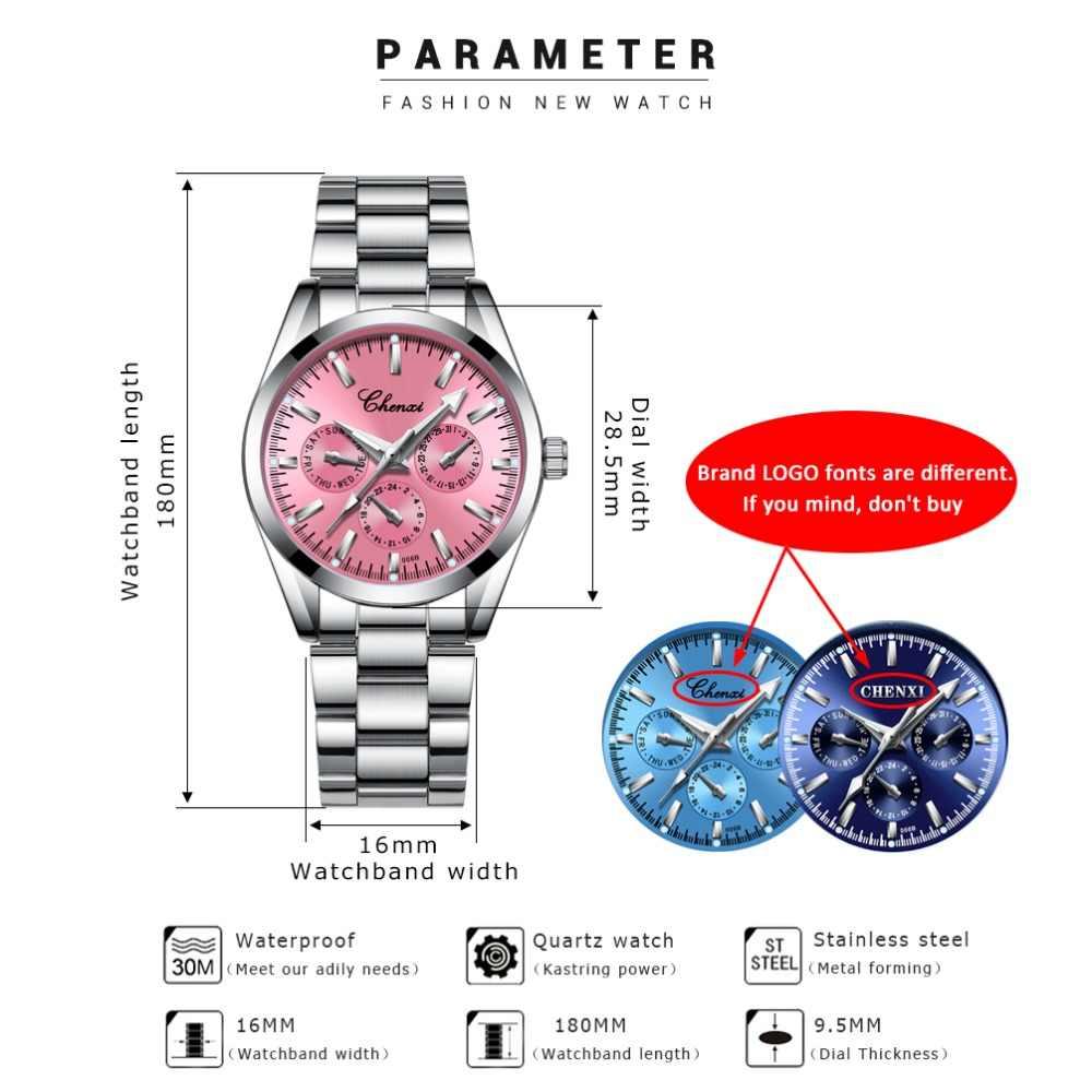 CHENXI Women Dress Luxury Brand Watches For Women's Silver Steel Quartz Watch Clock Relogio Feminino Ladies Clock zegarek damsk