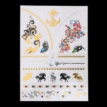 1 Sheet Body Art 14.8 x 21cm Decal Flash Tattoo Metallic Gold Silver Temporary YH-113 3D Horse Star Chain Tattoo Sticker Jewelry
