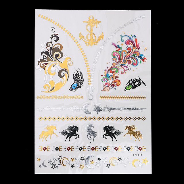 1 Sheet Body Art 14.8 x 21cm Decal Flash Tattoo Metallic Gold Silver Temporary YH-113 3D Horse Star Chain Tattoo Sticker Jewelry