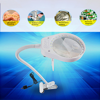 PDOK Lash lens 3X 10X 500MM Clip on Desk Magnifying Glass 26pcs LED Lamp Lupa Loupe for Reading Watch PCB Repair Magnifier