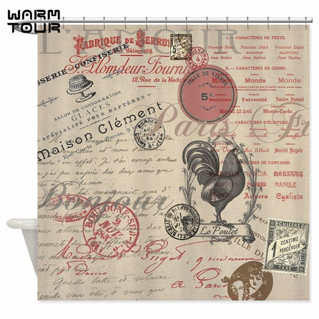 Warm Tour Vintage French Handwriting Paris Rooster Decorative Fabric Shower Curtain Polyester Waterproof Bathroom WTC055