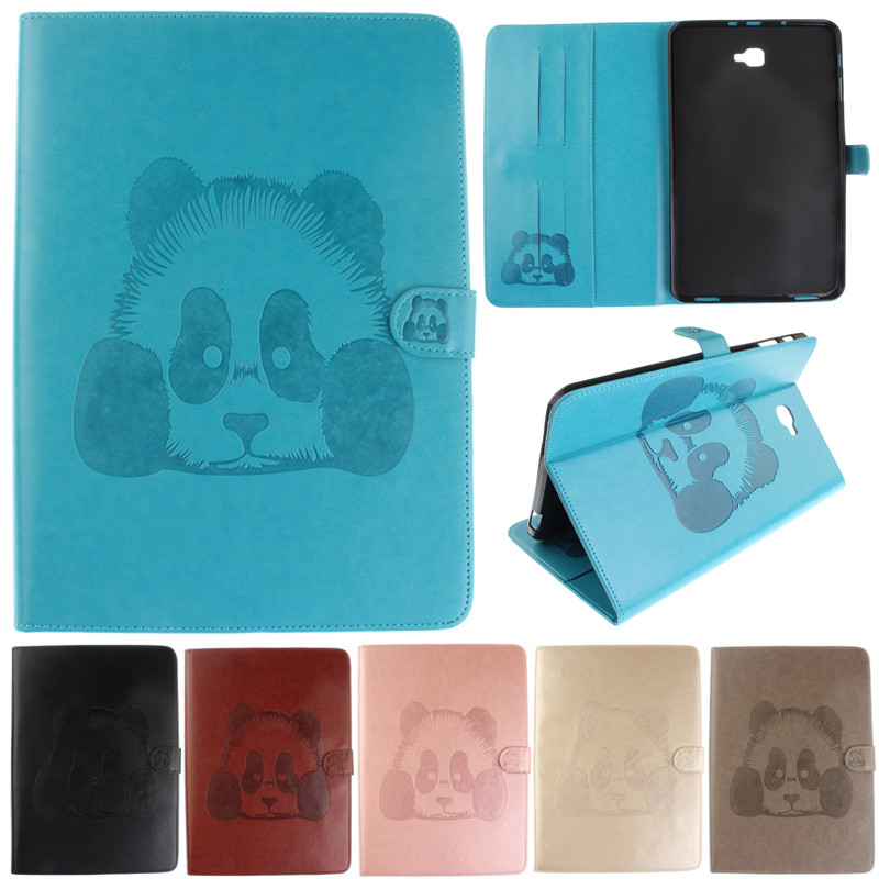 Cute Cartoon Panda Pattern PU Leather Flip Wallet Tablet Case For Samsung Galaxy Tab A A6 10.1 2016 T585 T580 T580N cover Coque luxury flip stand case for samsung galaxy tab 3 10 1 p5200 p5210 p5220 tablet 10 1 inch pu leather protective cover for tab3