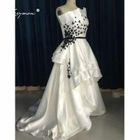 Leeymon Высокий Низкий без бретелек Цветы вечернее Формальное платье 2019 хит продаж черный и белый наряд для выпускного EE48