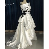 Leeymon High Low Strapless Flowers Evening Formal Dress 2017 Hot Selling Black and White Prom Evening Gown EE48