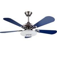 Современные светодиодный Кулон голубой серебристый двойной цвет combo вентилятор листьев фойе, спальня светильник Потолочный с вентилятором